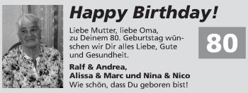 Glückwunschanzeige von 80.Geburtstag  von Zeitung am Sonntag