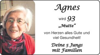 Glückwunschanzeige von Agnes  von Aachener Zeitung / Aachener Nachrichten