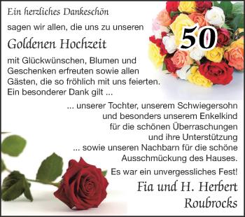 Glückwunschanzeige von Fia und H.Herbert Roubrocks von Zeitung am Sonntag
