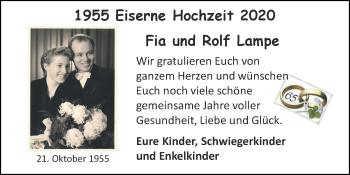 Glückwunschanzeige von Fia und Rolf  Lampe von Zeitung am Sonntag