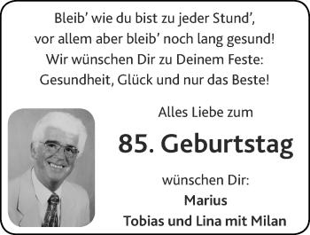 Glückwunschanzeige von 85.Geburtstag  von Zeitung am Sonntag