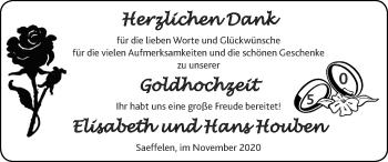 Glückwunschanzeige von Elisabeth und Hans  Houben von Zeitung am Sonntag
