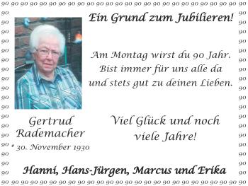 Glückwunschanzeige von Gertrud Rademacher von Zeitung am Sonntag