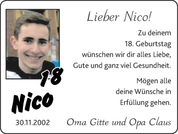 Glückwunschanzeige von Nico  von Zeitung am Sonntag
