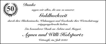 Glückwunschanzeige von Agnes und Willi Holzportz von Zeitung am Sonntag
