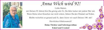 Glückwunschanzeige von Anna Wich wird 92!  von Aachener Zeitung / Aachener Nachrichten