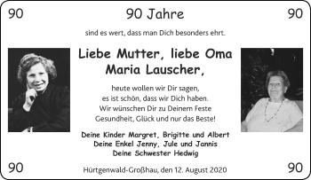 Glückwunschanzeige von Maria Lauscher von Aachener Zeitung / Aachener Nachrichten