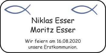 Glückwunschanzeige von Niklas und Moritz Esser von Zeitung am Sonntag