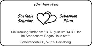 Glückwunschanzeige von Stefanie und Sebastian  von Zeitung am Sonntag