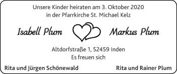 Glückwunschanzeige von Isabell und Markus Plum von Zeitung am Sonntag