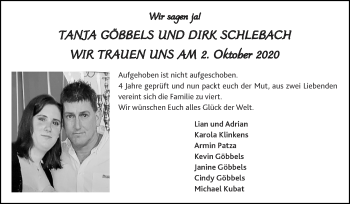 Glückwunschanzeige von Tanja und Dirk  von Zeitung am Sonntag