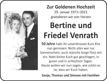 Glückwunschanzeige von Bertine und Friedel Venrath von Zeitung am Sonntag
