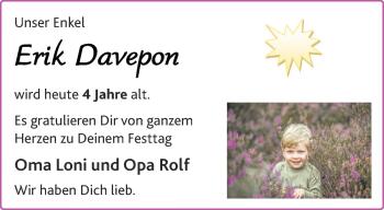 Glückwunschanzeige von Erik Davepon von Aachener Zeitung / Aachener Nachrichten