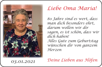 Glückwunschanzeige von Maria  von Aachener Zeitung / Aachener Nachrichten