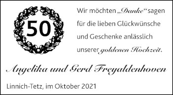 Glückwunschanzeige von Angelika und Gerd Freyaldenhoven von Aachener Zeitung / Aachener Nachrichten