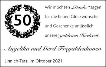 Glückwunschanzeige von Angelika und Gerd Freyaldenhoven von Zeitung am Sonntag