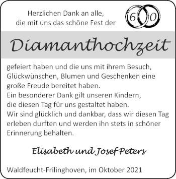 Glückwunschanzeige von Elisabeth und Josef Peters von Zeitung am Sonntag