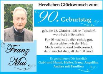 Glückwunschanzeige von Franz Mai von Aachener Zeitung / Aachener Nachrichten