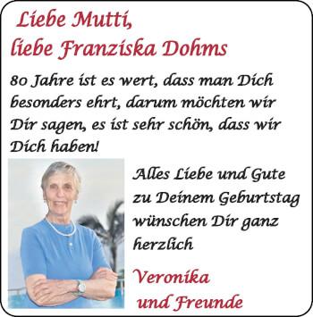 Glückwunschanzeige von Franziska Dohms von Zeitung am Sonntag