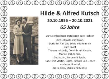 Glückwunschanzeige von Hilde und Alfred Kutsch von Aachener Zeitung / Aachener Nachrichten