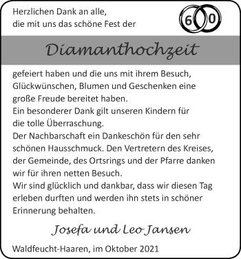 Glückwunschanzeige von Josefa und Leo Jansen von Zeitung am Sonntag