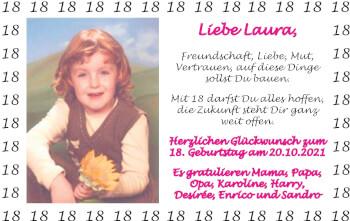 Glückwunschanzeige von Laura  von Zeitung am Sonntag