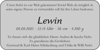 Glückwunschanzeige von Lewin Nehr von Zeitung am Sonntag