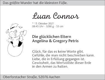 Glückwunschanzeige von Luan Connor von Zeitung am Sonntag