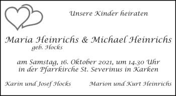 Glückwunschanzeige von Maria und Michael Heinrichs von Aachener Zeitung / Aachener Nachrichten