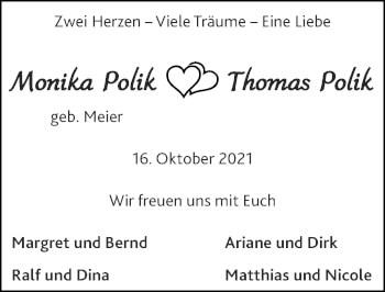 Glückwunschanzeige von Monika und Thomas Polik von Zeitung am Sonntag