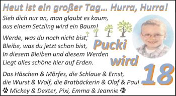 Glückwunschanzeige von Pucki  von Aachener Zeitung / Aachener Nachrichten