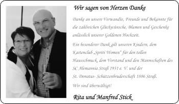 Glückwunschanzeige von Rita und Manfred Stick von Zeitung am Sonntag