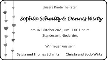 Glückwunschanzeige von Sophia und Dennis  von Zeitung am Sonntag