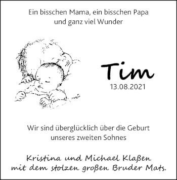 Glückwunschanzeige von Tim Klaßen von Zeitung am Sonntag