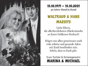 Glückwunschanzeige von Waltraud und Hans MAZSITS von Zeitung am Sonntag