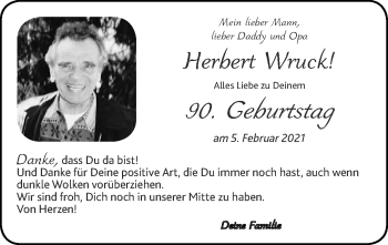Glückwunschanzeige von Herbert Wruck von Zeitung am Sonntag