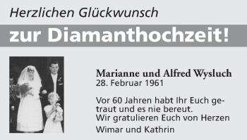 Glückwunschanzeige von Marianne und Alfred Wysluch von Zeitung am Sonntag