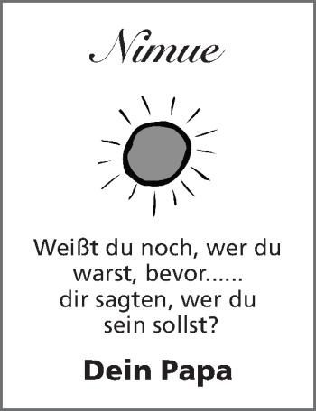 Glückwunschanzeige von Nimue  von Zeitung am Sonntag