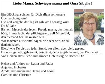 Glückwunschanzeige von Sibylle  von Zeitung am Sonntag
