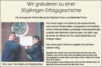 Glückwunschanzeige von 30-jährigen Erfolgsgeschichte  von Zeitung am Sonntag