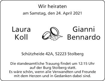 Glückwunschanzeige von Laura und Gianni Koll und Bennardo von Aachener Zeitung / Aachener Nachrichten