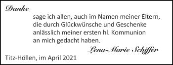 Glückwunschanzeige von Lena-Marie Schiffer von Zeitung am Sonntag