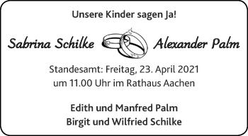 Glückwunschanzeige von Sabrina und Alexander Schilke und Palm von Aachener Zeitung / Aachener Nachrichten