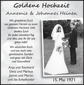 Glückwunschanzeige von Annemie und Johannes Heinen von Zeitung am Sonntag