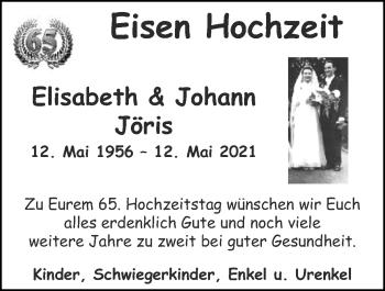 Glückwunschanzeige von Elisabeth und Johann Jöris von Zeitung am Sonntag