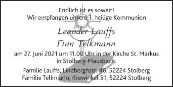 Glückwunschanzeige von Finn Telkmann von Zeitung am Sonntag