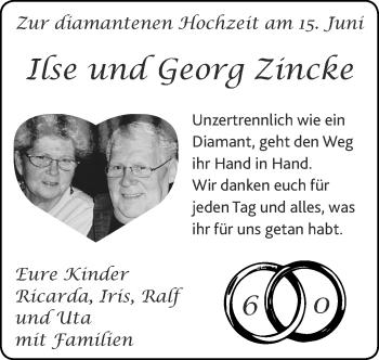 Glückwunschanzeige von Ilse und Georg Zincke von Zeitung am Sonntag
