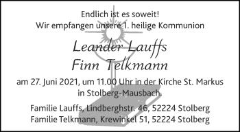 Glückwunschanzeige von Kommunion  von Aachener Zeitung / Aachener Nachrichten