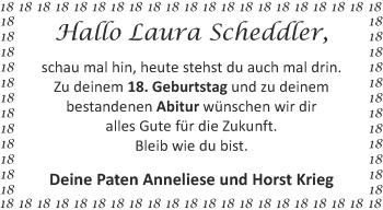 Glückwunschanzeige von Laura Scheddler von Aachener Zeitung / Aachener Nachrichten