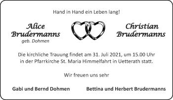 Glückwunschanzeige von Alice und Christian Brudermanns von Zeitung am Sonntag